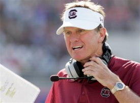 FILE -- This is an Oct. 4, 2008, file photo showing South Carolina football coach Steve Spurrier shouting at his players during an NCAA college football game against Mississippi, in Oxford, Miss. It had been a quiet offseason for Steve Spurrier and South Carolina, until this past weekend, when some of the same off-the-field troubles the Gamecocks have dealt with in past years sprang up again. (AP Photo/Rogelio V. Solis, File)